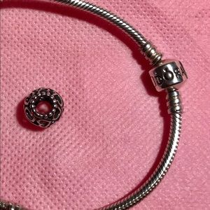 Authentic pandora classic charm bracelet & charm